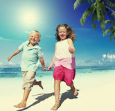 Brother Sister Beach Bonding Holiday Travel Concept Royalty Free Stock Image