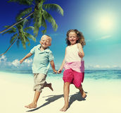 Brother Sister Beach Bonding Holiday Travel Concept Stock Image