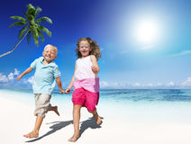 Brother Sister Beach Bonding Holiday Travel Concept Royalty Free Stock Photos