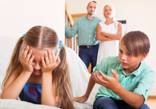 Brother sister calms crying Royalty Free Stock Photos