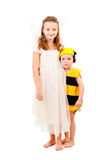 Brother and sister in carnival costumes Stock Photos
