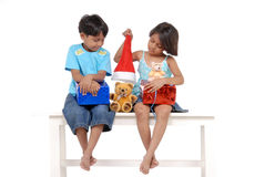 Brother and sister in Christmas Royalty Free Stock Photography