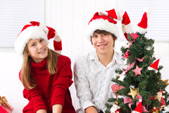 Brother and sister at Christmas Stock Photos