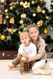 Brother and sister in christmas interior royalty free stock images