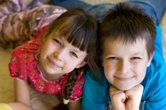 Brother and sister closeness Royalty Free Stock Photography