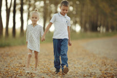 Brother and sister at  country  road Stock Photography