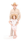Brother and sister in cowboy hats Royalty Free Stock Images