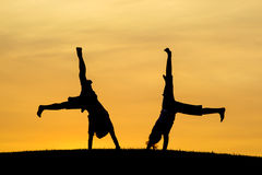 Brother and sister doing cartwheels. Royalty Free Stock Photos
