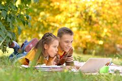Brother and sister drawing. Brother and sister lying on green grass in autumnal park and drawing Stock Photography