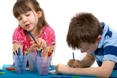 Brother and Sister Drawing Pictures stock photography