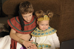 Brother and Sister dressed like Egyptian Royalty Free Stock Images
