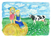 Brother and sister drinking milk and sitting on the haystack against the grassland with cow Stock Images