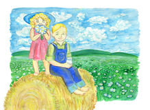 Brother and sister drinking milk and sitting on haystack in the field Royalty Free Stock Photography