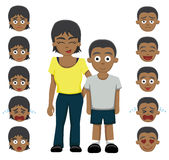 Brother sister emotion faces cartoon vector illustration Stock Photos