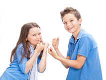 Brother and Sister fighting Stock Photos