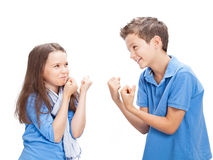 Brother and Sister fighting Royalty Free Stock Image