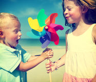 Brother Sister Fun Beach Children Kids Togetherness Concept Royalty Free Stock Photography