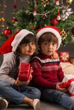 Brother and sister with gift boxes Stock Photos