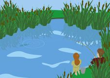 Brother and sister go fishing. A young boy and girl fishing at the lake overgrown with reeds Stock Photo