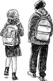 The brother and the sister go home from school. Vector drawing of the pupils going to school Stock Photo