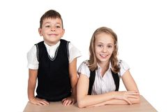 Brother and Sister, Happy school children royalty free stock photography