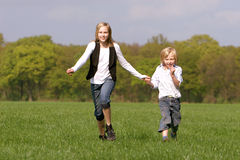 Brother and sister have fun together royalty free stock photography
