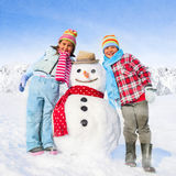 Brother and Sister Having Fun in Winter Concept Royalty Free Stock Image