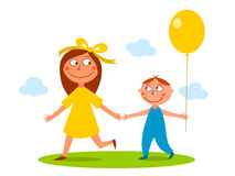 Brother and sister having a walk. Illustration of smiling girl having a walk with his little brother Stock Image