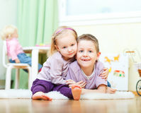 Brother and sister at home Royalty Free Stock Images
