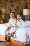 Brother and sister at hotel room Royalty Free Stock Photography