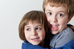 Brother and Sister Hugged Stock Photo