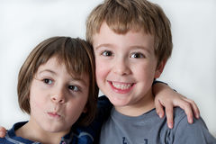 Brother and Sister Hugged Stock Images