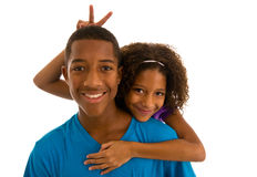 Brother and sister hugging Royalty Free Stock Images