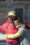 Brother and sister hugging Royalty Free Stock Photography