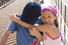 Brother and sister hugging Royalty Free Stock Photos
