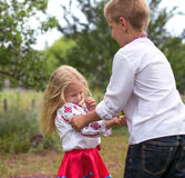 Brother and sister hugs. Outdoor Royalty Free Stock Images