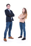 brother and sister isolated on white Stock Image