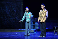 Brother and sister- Jiangxi opera a steelyard Stock Photo