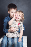 Brother and Sister Laugh. Sibling Boy and Girl. Happy Brother and Sister Laugh. Sibling Boy and Girl Stock Photos