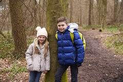 Brother and sister lean against a tree by a path in a forest Stock Photos
