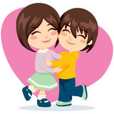 Brother Sister Love. Adorable brother and sister happy together in lovely hug Stock Images
