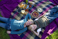 Brother and sister (9-13) lying on picnic blanket, smiling, portrait, elevated view Stock Photography