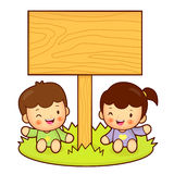 Brother and Sister Mascot holding a big board with both hands. H Stock Photography