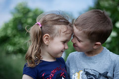 Brother and sister outdoor portrait Stock Images
