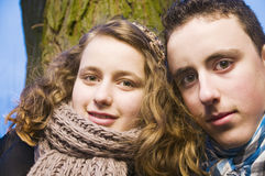 Brother and sister outdoors Stock Photography