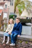 Kids outdoors in city Stock Photography