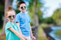 Brother and sister outdoors Royalty Free Stock Photo
