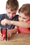 Brother and sister play with little guillotine Royalty Free Stock Images