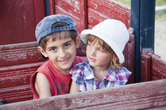 Brother and sister at playground Stock Photo