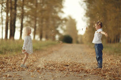 Brother and sister playin at country road royalty free stock photo